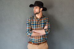 Serious and confident cowboy. Stock Image