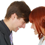 Serious confrontation between men and women Stock Images