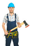 Serious constructor worker with ax Royalty Free Stock Photos