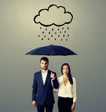 Serious couple with black umbrella Royalty Free Stock Photo