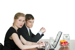 Serious couple in business meeting Royalty Free Stock Image