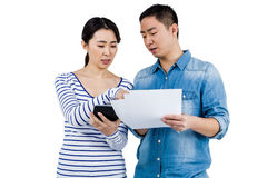 Serious couple discussing Stock Photo