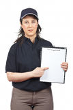 Serious courier woman Stock Image