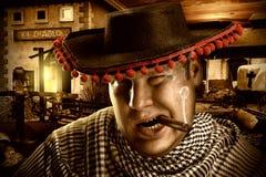 Serious cowboy mexican at night Royalty Free Stock Photo