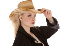 Serious cowgirl black Stock Photo