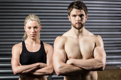 Serious crossfit couple posing Royalty Free Stock Images