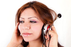 Serious customer support girl Royalty Free Stock Photo