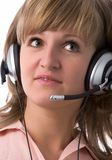 Serious customer support girl Stock Photo