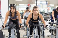Serious Women Exercising On Stationary Cycles In Health Club royalty free stock image