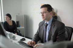 Serious devoted business man work in office on computer. Real economist business people, not models. Bank employees discussing. Serious devoted business man work royalty free stock photo