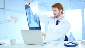 Serious Doctor Examing X-ray of Patient, Lungs and ribcage Royalty Free Stock Images