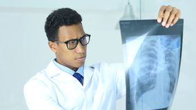 Serious Doctor Examing X-ray of Patient, Lungs and ribcage Stock Photos