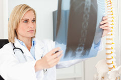 Serious doctor looking at x-ray. In her office Stock Photos