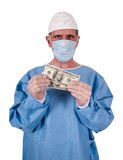 Serious Doctor Surgeon Money Cash Healthcare Costs Royalty Free Stock Images
