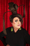 Serious Drag Queen in Black Royalty Free Stock Image