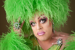 Serious Drag Queen in Green Stock Photo