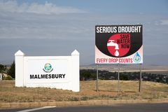Serious drought and water shortage in South Africa sign. Roadside sign warning of a serious drought situation in Malmesbury a town in the Karoo region of South royalty free stock image