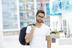 Serious dude in spectacles. Portrait Royalty Free Stock Photography