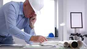 Serious Engineer Dial and Try to Make a Phone Call Using Office Landline.  stock footage