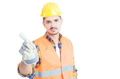 Serious engineer doing no or denial gesture with his finger Royalty Free Stock Photos