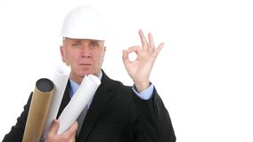 Serious Engineer in a Meeting with Projects in Hand Make OK Hand Sign.  stock video