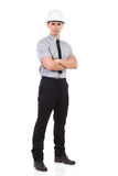 Serious engineer posing. Full length Royalty Free Stock Photo