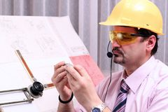 Serious Engineer-Quality Inspector Royalty Free Stock Photos