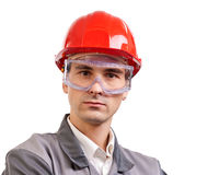 Serious engineer in red hardhat Stock Image