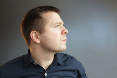 Serious expression in the face of caucasian man Royalty Free Stock Photo