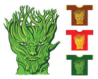 Serious face of the tree. Vector illustration. Royalty Free Stock Photography
