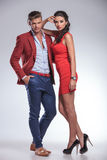 Serious fashion couple posing in studio Royalty Free Stock Images