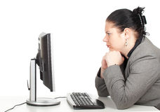 Serious fat businesswoman Stock Image