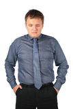 Serious fat man. Stands hands in pockets Stock Photo