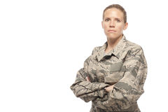 Serious female airman Royalty Free Stock Image