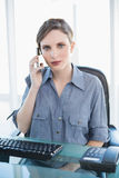 Serious female businesswoman sitting at her desk while phoning with her smartphone. Looking at camera Stock Photography