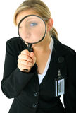 Serious Female Caucasian Investigating You royalty free stock images