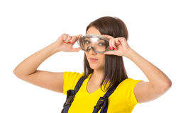 Serious female construction worker with goggles Stock Photography