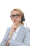 Serious female customer service representative Royalty Free Stock Image
