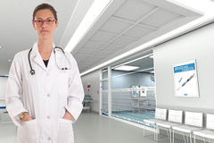 Serious female doctor Stock Images