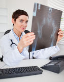 Serious female doctor holding a set of X-ray. While looking at the camera Royalty Free Stock Photos