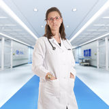 Serious female doctor at the hospital Royalty Free Stock Image