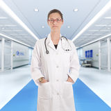 Serious female doctor at the hospital Stock Image