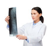 Serious female doctor looking at x-ray Royalty Free Stock Images