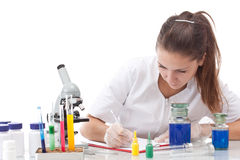 Serious female scientist Stock Photography