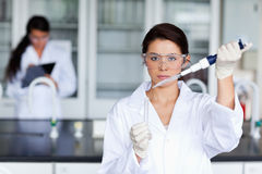 Serious female scientist pouring Stock Images
