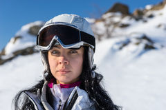 Serious Female Skier Looking At Camera Royalty Free Stock Photo