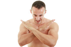 Serious fighter in combat stance ready to fight Stock Images