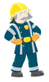 Serious firefighter or fireman in uniform. Serious funny firefighter or fireman with a mustache in the yellow helmet and uniform with reflective elements Stock Images