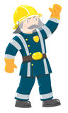 Serious firefighter or fireman in uniform. Serious funny firefighter or fireman with a mustache in the yellow helmet and uniform with reflective elements raised Stock Image