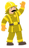 Serious firefighter or fireman in uniform. Serious funny firefighter or fireman with a mustache in the yellow helmet and retro uniform with reflective elements Stock Images